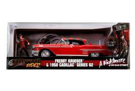 Cadillac  - series 62 1958 red/grey - 1:24 - Jada Toys - 31102 - jada31102 | Tom's Modelauto's