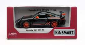 Porsche  - GT3 RS 2010 black/orange - 1:36 - Kinsmart - 5352W - KT5352Wbk | Toms Modelautos