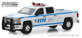 Chevrolet  - Silverado 2015 white/blue - 1:64 - GreenLight - 30093 - gl30093 | Tom's Modelauto's