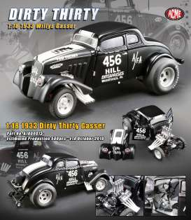 Willys  - Gasser *Dirty Thirty* 1933 satin black/white - 1:18 - Acme Diecast - 1800913 - acme1800913 | Tom's Modelauto's