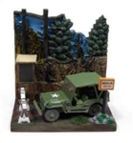 Willys diorama - MB jeep green/grey - 1:64 - Johnny Lightning - DS002 - JLDS002Willys | Toms Modelautos