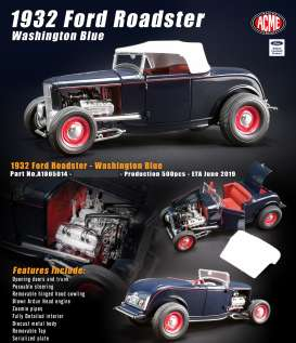 Ford  - Roadster 1932 washington blue - 1:18 - Acme Diecast - 1805014 - acme1805014 | Tom's Modelauto's