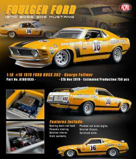 Ford  - Boss Mustang 302 #16 1970 yellow - 1:18 - Acme Diecast - 1801835 - acme1801835 | Toms Modelautos