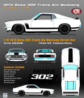 Ford  - Mustang Boss 302 Trans Am  - 1:18 - Acme Diecast - 1801835W - acme1801835W | Toms Modelautos