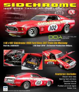 Ford  - Trans Am Boss Mustang #102 1969 red - 1:18 - Acme Diecast - 1801829 - acme1801829 | Toms Modelautos