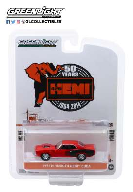 Plymouth  - Hemi Cuda 1971 orange - 1:64 - GreenLight - 28000E - gl28000E | Toms Modelautos