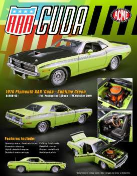 Plymouth  - AAR Cuda 1970 sublime green - 1:18 - Acme Diecast - 1806113 - acme1806113 | Tom's Modelauto's