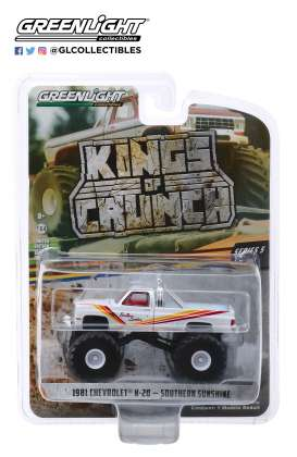 Chevrolet  - K20 Silvarado Monster Truck 1981 white/red/yellow - 1:64 - GreenLight - 49050D - gl49050D | Tom's Modelauto's