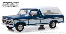 Ford  - F-100 1975 blue/white - 1:18 - GreenLight - 13544 - gl13544 | Toms Modelautos