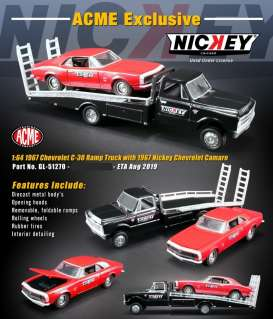 Chevrolet  - C-30 Ramp Truck & Camaro 1967 red/black - 1:64 - Acme Diecast - 51270 - acme51270 | Tom's Modelauto's