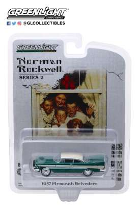 Plymouth  - Belvedere 1957 green/white - 1:64 - GreenLight - 54020D - gl54020D | Tom's Modelauto's