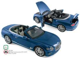 Bentley  - Continental 2019 blue crystal - 1:18 - Norev - 182785 - nor182785 | Tom's Modelauto's