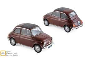Fiat  - 500L 1968 red - 1:18 - Norev - 187771 - nor187771 | Tom's Modelauto's