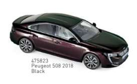 Peugeot  - 508 2018 black - 1:43 - Norev - 475823 - nor475823 | Tom's Modelauto's