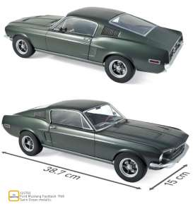 Ford  - Mustang Fastback 1968 green metallic - 1:12 - Norev - 122702 - nor122702 | Tom's Modelauto's