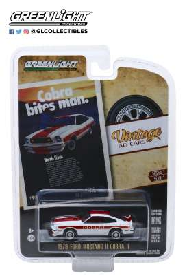 Ford  - Mustang II Cobra II 1978 white/red - 1:64 - GreenLight - 39020F - gl39020F | Toms Modelautos