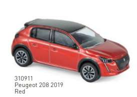 Peugeot  - 208 2019 red - 1:64 - Norev - 310911 - nor310911 | Toms Modelautos
