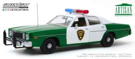 Plymouth  - Fury 1975 green/white - 1:18 - GreenLight - 19076 - gl19076 | Tom's Modelauto's
