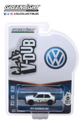 Volkswagen  - Golf 1974 blue/white/orange - 1:64 - GreenLight - 29980C - gl29980C | Tom's Modelauto's