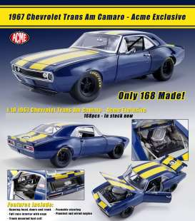 Chevrolet  - Trans Am 1967 blue/yellow - 1:18 - Acme Diecast - 18909 - acme18909 | Tom's Modelauto's