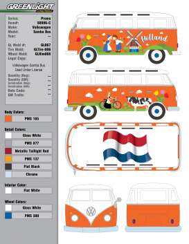 Volkswagen  - T1 Samba 1962 orange/white - 1:64 - GreenLight - 50996C - gl50996C | Toms Modelautos