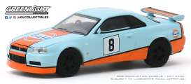 Nissan  - Skyline GT-R 2001 blue/orange - 1:64 - GreenLight - 47060C - gl47060C | Toms Modelautos