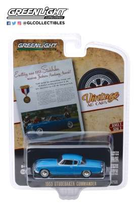 Studebaker  - Commander 1953 blue - 1:64 - GreenLight - 39030A - gl39030A | Tom's Modelauto's