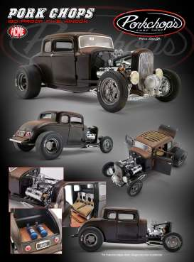 Ford  - Hot Rod *Pork Chops* 1932 black/brown - 1:18 - Acme Diecast - 1805017 - acme1805017 | Tom's Modelauto's