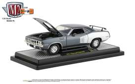 Plymouth  - Cuda 340 1971 grey/white - 1:24 - M2 Machines - 40300-76A - M2-40300-76A | Toms Modelautos