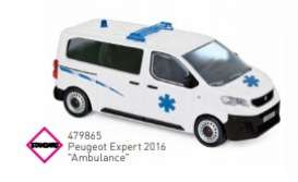 Peugeot  - 2016 white/blue - 1:43 - Norev - 479865 - nor479865 | Toms Modelautos
