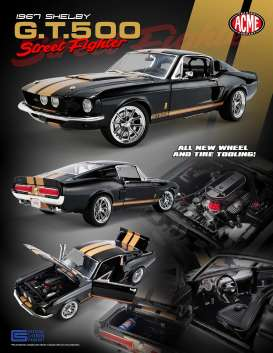 Shelby  - GT500 *Street Fighter* 1967 black/gold - 1:18 - Acme Diecast - 1801837 - acme1801837 | Toms Modelautos