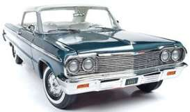 Chevrolet  - Impala 1964 aqua green/white - 1:18 - Auto World - AMM1219 - AMM1219 | Toms Modelautos