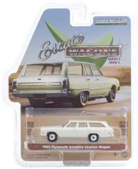 Plymouth  - Satellite 1969 white - 1:64 - GreenLight - 29990B - gl29990B | Toms Modelautos