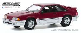 Ford  - Mustang 1991 red-silver - 1:64 - GreenLight - 47080C - gl47080C | Toms Modelautos