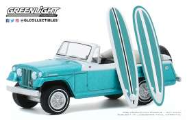Kaiser-Jeep  - Jeepster 1968 blue/white - 1:64 - GreenLight - 97090B - gl97090B | Toms Modelautos