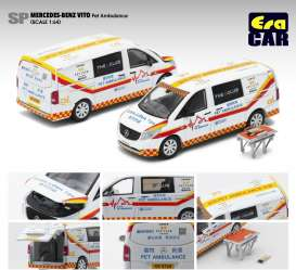 Mercedes Benz  - Vito Pet Ambulance 2020 white/red/yellow - 1:64 - Era - MB20VITSP15 - Era20VITSP15 | Toms Modelautos