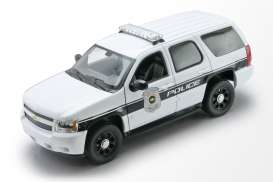 Chevrolet  - Tahou *Police* 2008 white/black - 1:24 - Welly - 22509WP - welly22509WP | Toms Modelautos