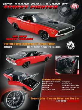 Dodge  - Challenger Street Fighter 1970 red/black - 1:18 - Acme Diecast - 1806014 - acme1806014 | Toms Modelautos