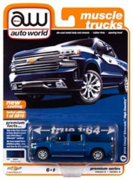 Chevrolet  - Silverado 2019 blue - 1:64 - Auto World - SP037A - AWSP037A | Toms Modelautos
