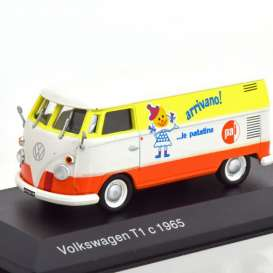 Volkswagen  - 1965 white/orange/yellow - 1:43 - Magazine Models - magkT1bus | Toms Modelautos