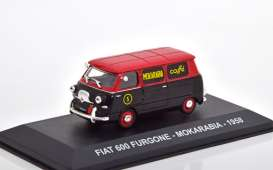 Fiat  - 600 van 1958 red/black - 1:43 - Magazine Models - magkPubFi1958 | Toms Modelautos