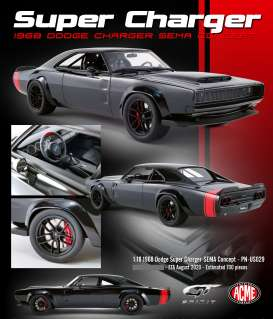 Dodge  - Super Charger 1968 black/red - 1:18 - Acme Diecast - US029 - GTUS029 | Toms Modelautos