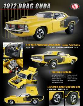 Plymouth  - Cuda Drag 1972 yellow - 1:18 - Acme Diecast - 1806118 - acme1806118 | Toms Modelautos