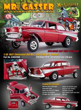 Chevrolet  - Bel Air Gasser 1957 red - 1:18 - Acme Diecast - 1807008 - acme1807008 | Toms Modelautos