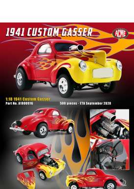 Willys  - Gasser  1941 red - 1:18 - Acme Diecast - 1800916 - acme1800916 | Toms Modelautos