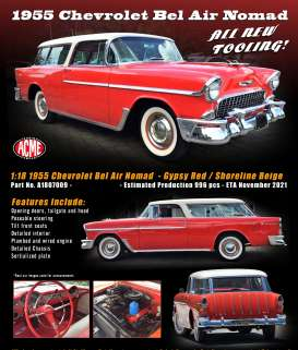 Chevrolet  - Bel Air Normad 1955  - 1:18 - Acme Diecast - 1807009 - acme1807009 | Toms Modelautos