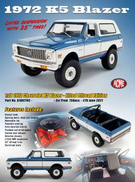Chevrolet  - K5 Blazer Lifted Offroad versi 1970 blue/white - 1:18 - Acme Diecast - 1807702 - acme1807702 | Toms Modelautos