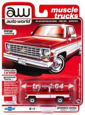 Chevrolet  - Silverado 1975 red/white - 1:64 - Auto World - SP030A - AWSP030A | Toms Modelautos