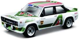 Fiat  - 131 Abarth white/green/red - 1:24 - Bburago - 28014 - bura28014 | Toms Modelautos