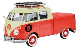 Volkswagen  - Type 2 pick-up  red/cream - 1:24 - Motor Max - 79582 - mmax79582 | Toms Modelautos